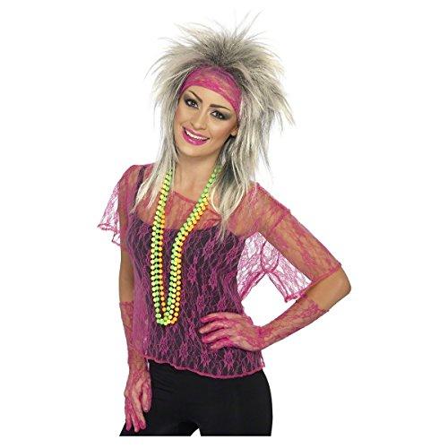 Smiffy's Women's Lace Net Vest, Gloves & Headband, Neon Pink, One Size, 27235