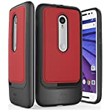 Vena [vSkin SL] Motorola Moto G (3rd Gen) Case - Ultra Heavy Duty [Shock Absorbent] TPU + Leather Protective Shell Cover for Moto G (3rd Gen, 2015) (Red/Black)