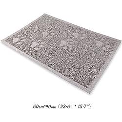 wangstar Pet Cat Litter Mat, Litter Trapper Mat, Food Mat, Kitty Litter Catcher with Scatter Control Easy to Hoover and Wipe (60 x 40cm)