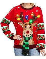 JOYIN Womens LED Light Up Reindeer Ugly Christmas Sweater Built-in Light Bulbs