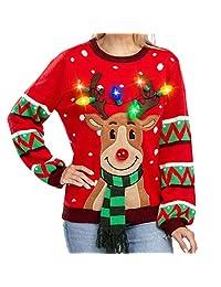 Suéter de Navidad con luces LED para mujer