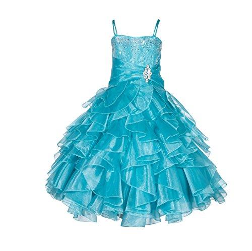 ekidsbridal Elegant Stunning Rhinestone Organza Pleated Ruffled Flower Girl Dress 164s 8 ()