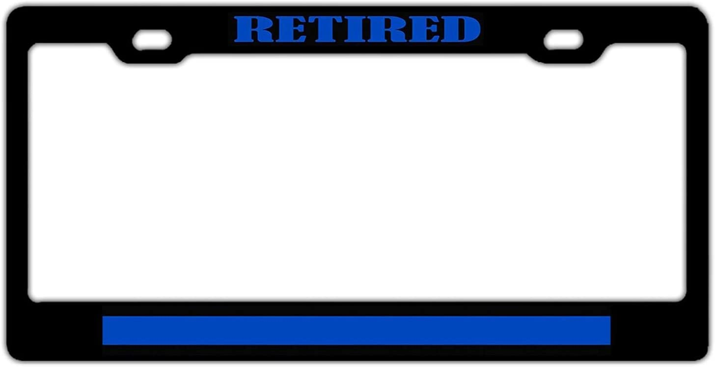 YEX Abstract Retired Police Officer Thin Blue Line License Plate Frame Car Licence Plate Covers Auto Tag Holder 6 x 12