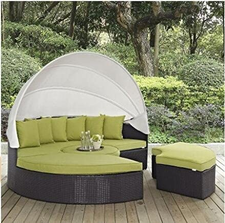 Husen 4-Piece Outdoor Daybed Sectional Set Green