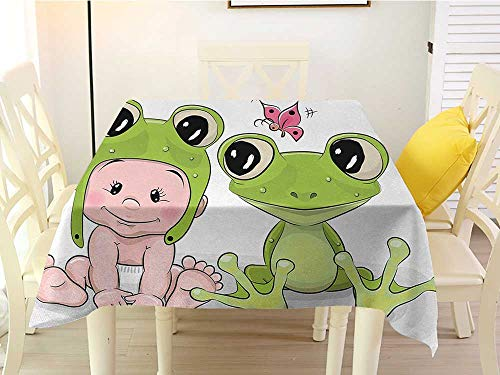 L'sWOW Square Tablecloth of Round Table Animal Cute Cartoon Baby in Froggy Hat and Frog Best Friends Love Theme Graphic Cream White Green Fitted 50 x 50 Inch]()