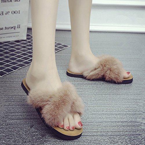 GAOLIM La Primavera Y El Verano La Verdadera Cruz-Cool Zapatillas Planas Con Una Base Plana Ranurado Sandalias Zapatillas Mujer Brown
