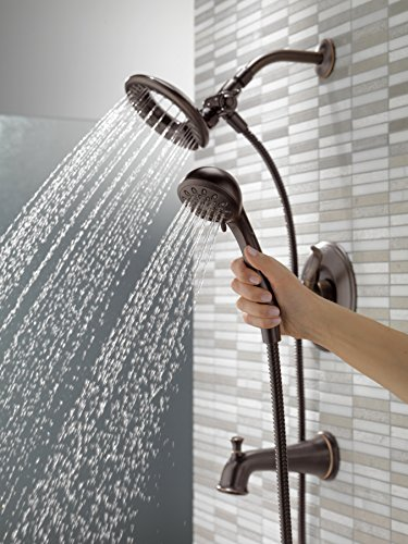 Delta T17494-RB-I Linden 17 Series Dual-Function Tub and Shower Trim Kit with 2-Spray In2ition 2-in-1 Hand Held Shower Head with Hose, Venetian Bronze (Valve Not Included)