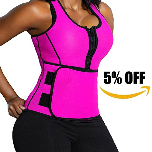 Lelinta Neoprene Sauna Suit - Sauna Tank Top Vest with Adjustable Shaper Trainer Belt,Pink,XL(Fit For Waist:31.5