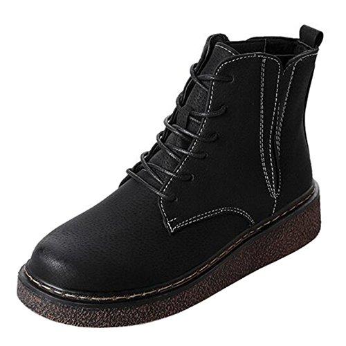 Mashiaoyi Women's Round-Toe Flat Lace-up Suede Chelsea Boots Black ePUTD