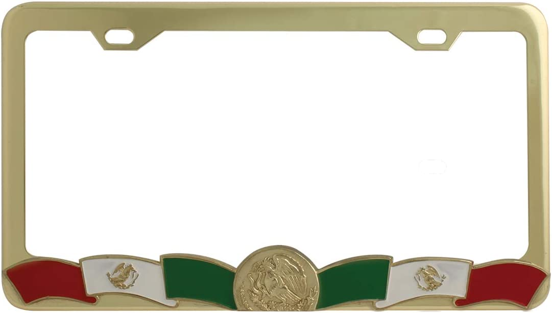 GG Grand General 60277 Gold Color Mexican Flag Color License Plate Frame