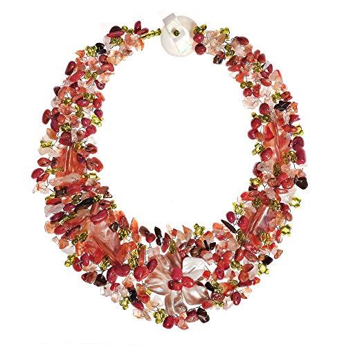 AeraVida Secret Autumn Flower Multi Stone Collar Necklace