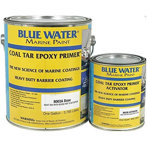 (Blue Water Marine Paint Marine Coal Tar Epoxy Primer - 1 Gallon Kit (Black, Flat Finish) )