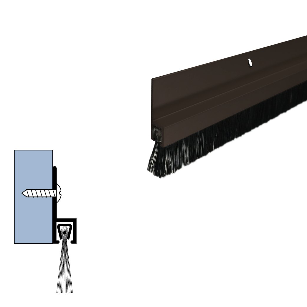 Dark Bronze/Aluminum Door Bottom Sweep with 5/8'' Nylon Brush (72918DB), SMS #6 x 1/2'' Supplied, (5/16'' W x 1'' H x 42'' L)