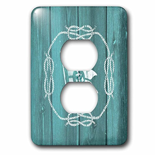 3dRose LSP_220431_6 White Flag with Anchor Detail and Knotted Rope- not Real Wood 2 Plug Outlet Cover,