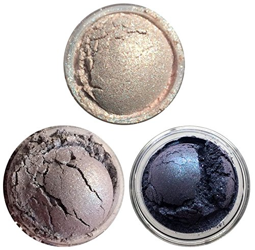 Shiro Cosmetics Eye Shadow Indie Makeup Trio - Fire Rainbow Clouds, Largest Moon of Still Not a Planet, Aurora Borealis (2.0 grams -