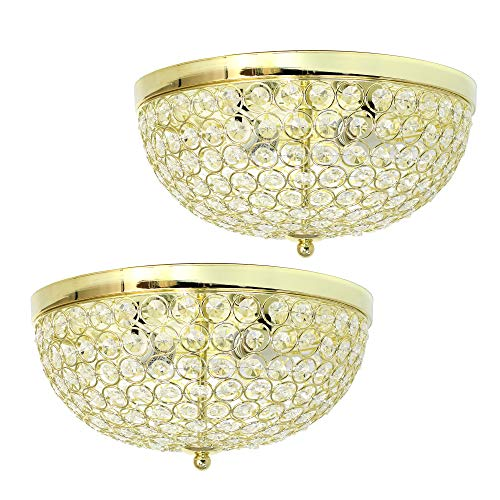 Elegant Designs FM1000-GLD-2PK Elipse Crystal Flush Mount Ceiling Light 2 Pack Flushmount, ()