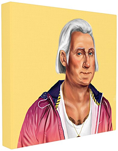 Stupell Home Décor HIPSTORY Hipster George Washington Stretched Canvas Wall Art, 17 x 1.5 x 17, Proudly Made in USA