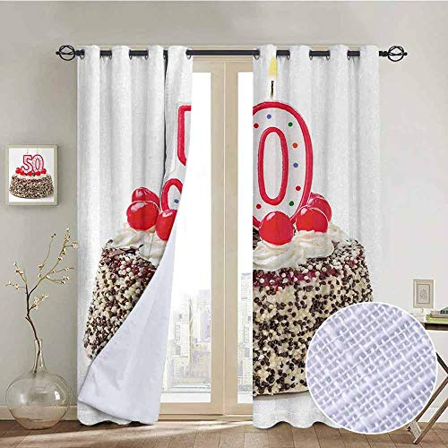 NUOMANAN Customized Curtains 50th Birthday,Creamy Cake with Cherries Burning Candles Chocolaty Yummy Delicious Desert,Multicolor,Blackout Draperies for Bedroom Living Room 54