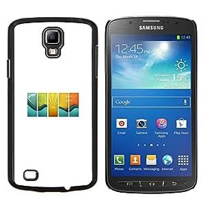 KLONGSHOP // Cubierta de piel con cierre a presión Shell trasero duro de goma Protección Caso - Onda Azulejos - Samsung Galaxy S4 Active i9295 //