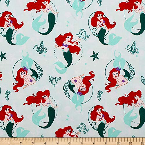 Camelot Fabrics Disney Princess Heart Strong Ariel Fabric, Multicolor, Fabric By The Yard -