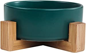 Cat Bowls, Ceramic Round Dog Bowl,Food and Water Cat Dishes with Wood Stand,Non Slip Stackable Pet Bowl for Cat, Kitten, Puppy, Small Dog Pet Feeder
