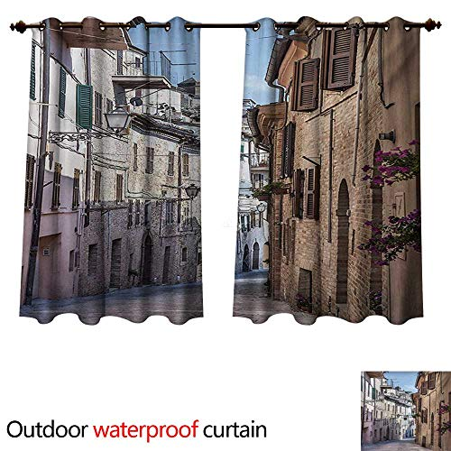 WilliamsDecor Mediterranean Outdoor Ultraviolet Protective Curtains Italian Apartments in Aged City Countryside Italy Dreamy Path Destination Photo W55 x L72(140cm x 183cm)