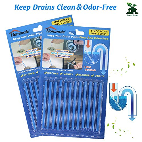 Drain Sticks Sink Sticks Drain Stix Drain Cleaner & Deodorizer Drain Deodorizer Sticks Unscented Non-Toxic for Kitchen Bathroom Sinks Pipes Septic Tank Safe As Seen On TV (24pcs, Blue)