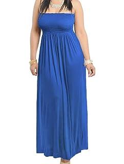 9720e723bc74b 811 Dark Blue - Smocked Chest Strapless Tube Long Maxi Beach Cover-up Dress