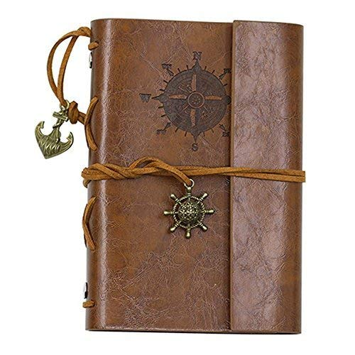 (ZAONE Retro Anchor Faux Leather Cover Journal Vintage Handmade Refillable Traveler's Notebook Daily Notepad Blank String, Great gift for Men Women Students (Brown))