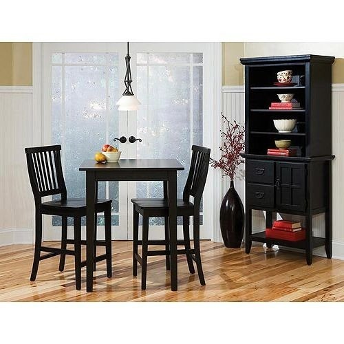 Counter Height Table Set,, Bar,Wood,3 Piece,Ebony Finish -