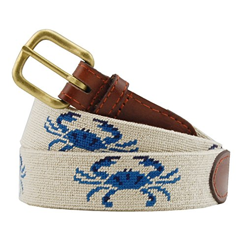 Smathers & Branson Men's Blue Crab Needlepoint Belt 34 - Crab Needlepoint
