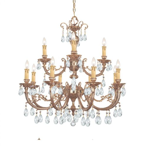 Crystorama 499-OB-CL-MWP Crystal Accents 12 Light Chandelier from Etta collection in Brassfinish,