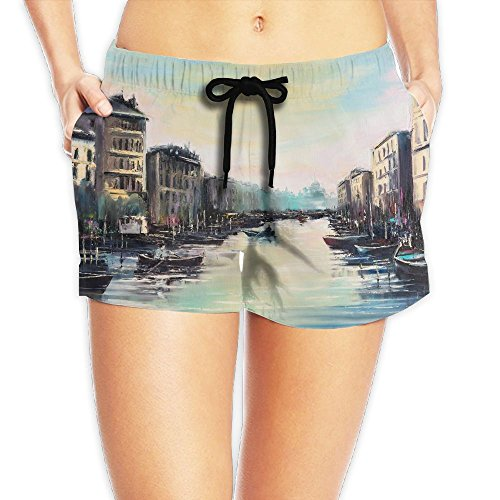 ZhiqianDF Women Fantastic Elegance Venice Channels At Dawn Just Before The Sunrise Over A Sleeping City White Yoga Hot Pants L Adjustable Beach - Map Miami Sunrise