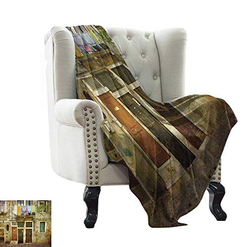 Venice, Blankets Queen Size, Old Weathered Building Facade with Hanged Clothes Murano Island Grunge Architecture, Lightweight Blanket Extra Big, (W90 x L90 Inch Multicolor
