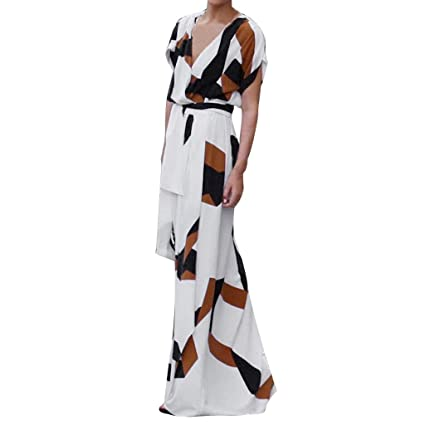 e86b64b0b9 Image Unavailable. Image not available for. Color: Wrap Maxi Dress Short  Sleeve V Neck Floral Flowy Front Slit High Low Women Summer Beach