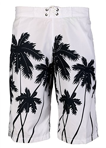 APTRO Men's Polyester Coconut Floral Printing Summer Surf Board Shorts 2198 White L