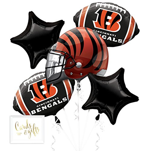 Andaz Press Balloon Bouquet Party Kit with Gold Cards & Gifts Sign, Bengals Football Themed Foil Mylar Balloon Decorations, 1-Set - Bengals Card