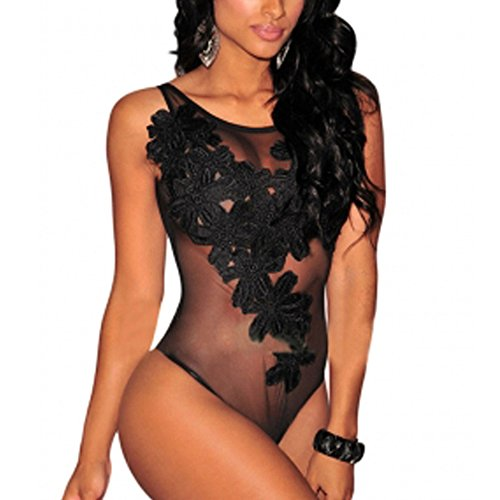 Women's Flirty Floral Design Bodysuit with Semi Sheer Stretchy Mesh Fabric (Large, Black)