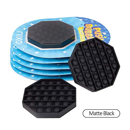 nixo Push Bubble Pop Fidget Toy, Black, Octagonal, Pack of 1 Popper Bubble Stress Relief Toy, Perfect Bubble Poppet Sensory Fidget Toy for Kids and Adults, Best Anti-Anxiety ADHD Popping Toy