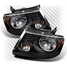 For 2004-2008 F150/LOBO, 2006-2008 Mark LT Black Headlights Assembly Replacement LH+RH Pair Left+Right/2005 2006 2007