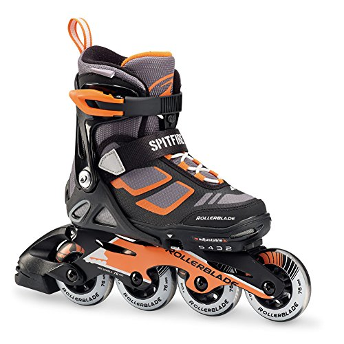 Rollerblade Spitfire LX Kids 4 Full Sizes Inline Skates, Black/Orange, Adjustable Size 2 To 5