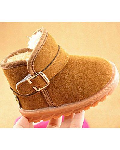 Minetom Unisex Winter Baby Kinder Stiefel Thermal Super Weich Schneestiefel Klettband Booties Braun