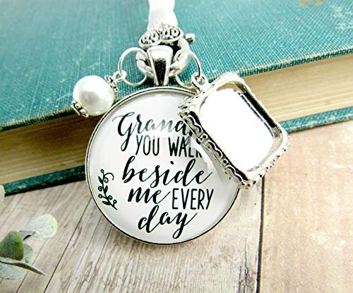 (Bridal Bouquet Charm Grandpa Picture Frame Wedding Memorial Remembrance Pendant Silver Finish Jewelry)