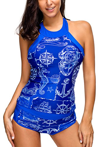 Women's 2 Pieces Printed High Neck Tankini Swimsuits, Hippocampus & Anchor Print, (Neck Tankini)