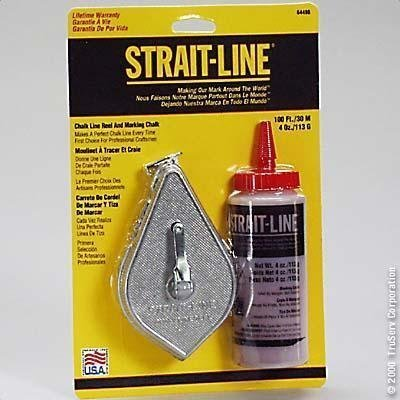 IRWIN Tools STRAIT-LINE 64498 Aluminum Refillable Chalk Line Reel with 4-Ounce Chalk, 100-foot, Red (64498)