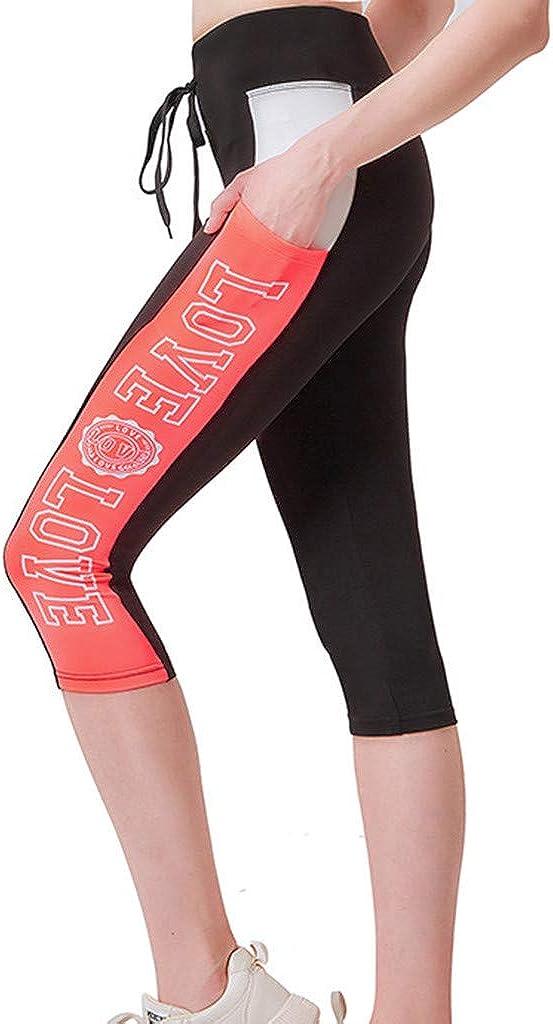 FEDULK Womens Yoga Capri Pants Tummy Control Workout Letter Print Non See-Through Fabric Leggings