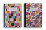 Pastel and Elephant Patterned Wide Ruled 100 Sheets Composition Notebooks - (Pack of 2)