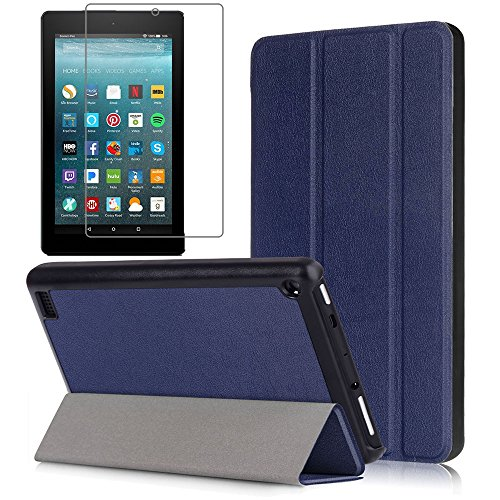 Gzerma Fire 7 Case 2017 Release with Screen Protector for All-New Fire 7 Tablet, Folio Standing PU Leather Cover with Auto Wake / Sleep, Shatter-proof Protective Film for Amazon Fire7 7th Gen, Blue
