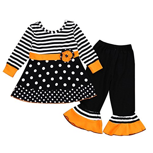2-7T Toddler Girls Long Sleeve Cat & Dots Dress Tops + Capris Pants Clothes Set (6-7T, Dots&Stripe) ()