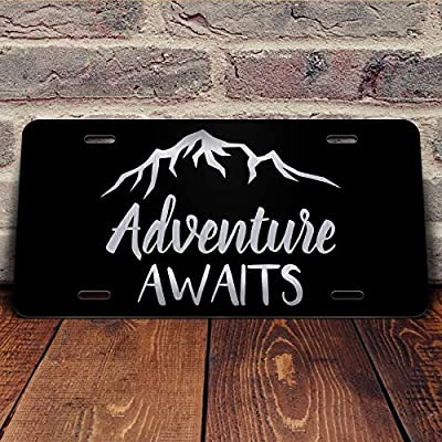 Adventure Awaits Mountains Vanity Front License Plate Tag KCE163: Automotive